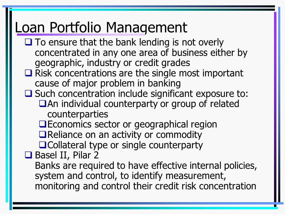 Loan Portfolio Management
