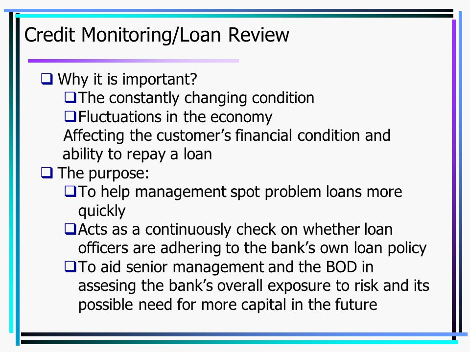 Credit Monitoring/Loan Review