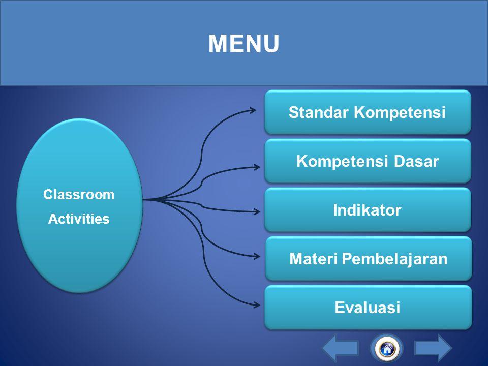 MENU Standar Kompetensi Kompetensi Dasar Indikator Materi Pembelajaran