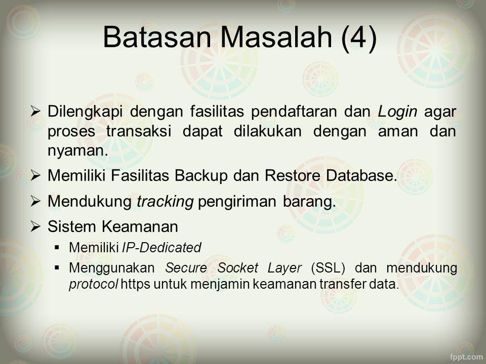 Batasan Masalah (4) Dilengkapi dengan fasilitas pendaftaran dan Login agar proses transaksi dapat dilakukan dengan aman dan nyaman.