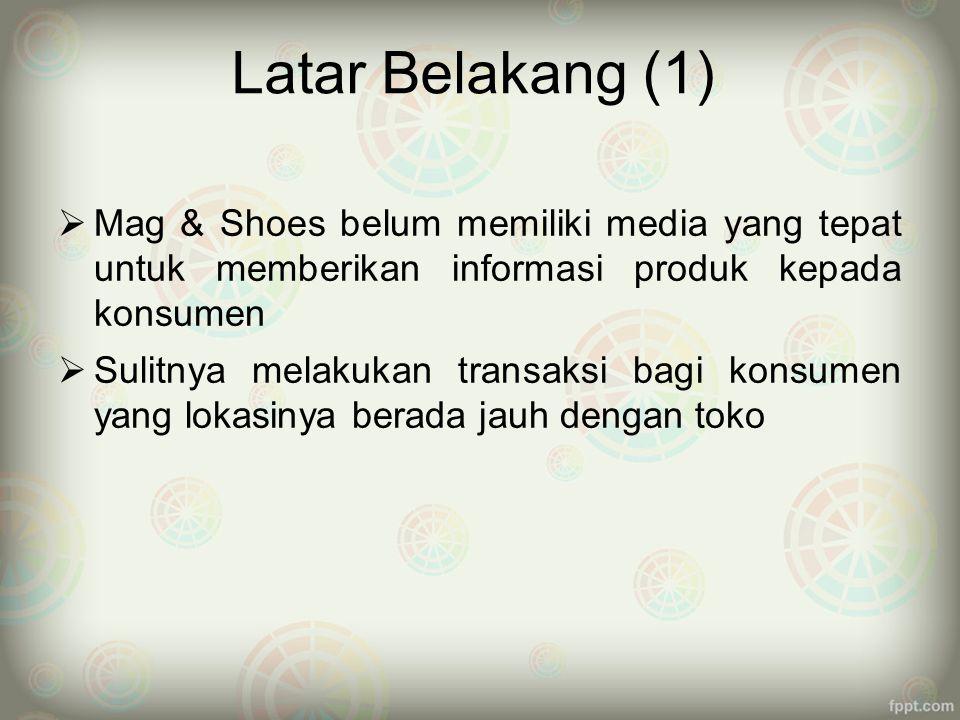 Latar Belakang (1) Mag & Shoes belum memiliki media yang tepat untuk memberikan informasi produk kepada konsumen.