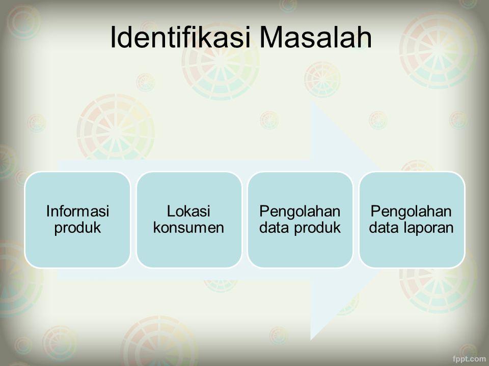 Identifikasi Masalah Informasi produk Lokasi konsumen
