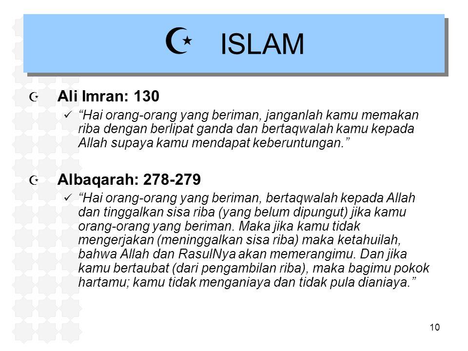 ISLAM Ali Imran: 130 Albaqarah: 278-279