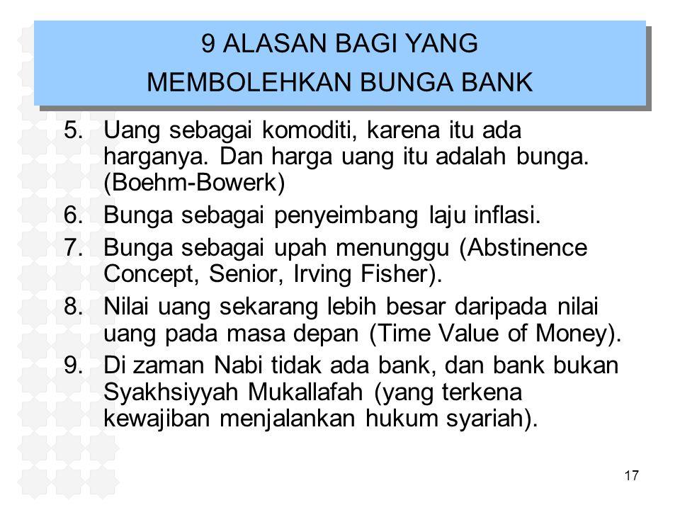 9 ALASAN BAGI YANG MEMBOLEHKAN BUNGA BANK