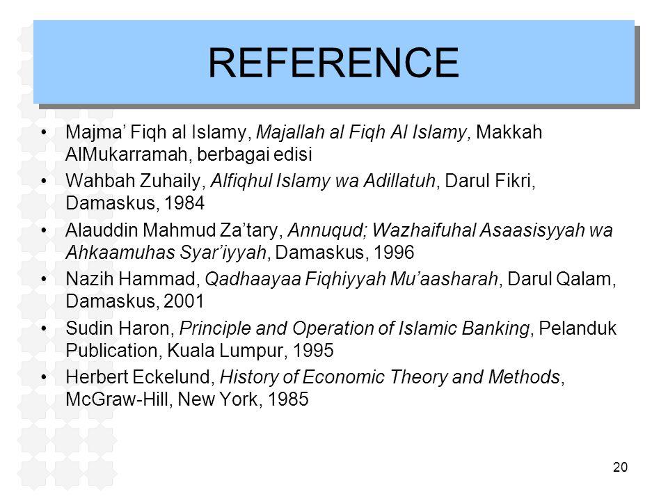 REFERENCE Majma' Fiqh al Islamy, Majallah al Fiqh Al Islamy, Makkah AlMukarramah, berbagai edisi.