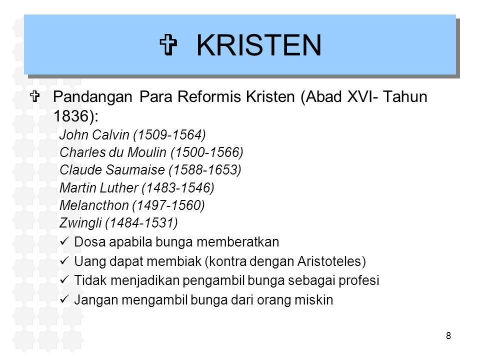 KRISTEN Pandangan Para Reformis Kristen (Abad XVI- Tahun 1836):