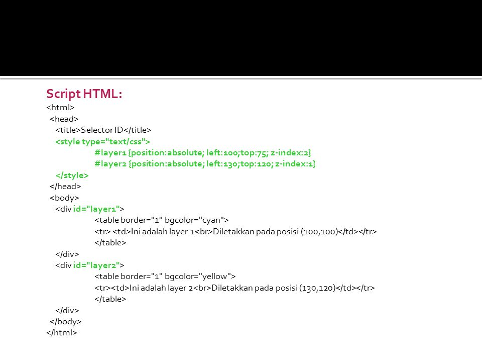 Script HTML: <html> <head>