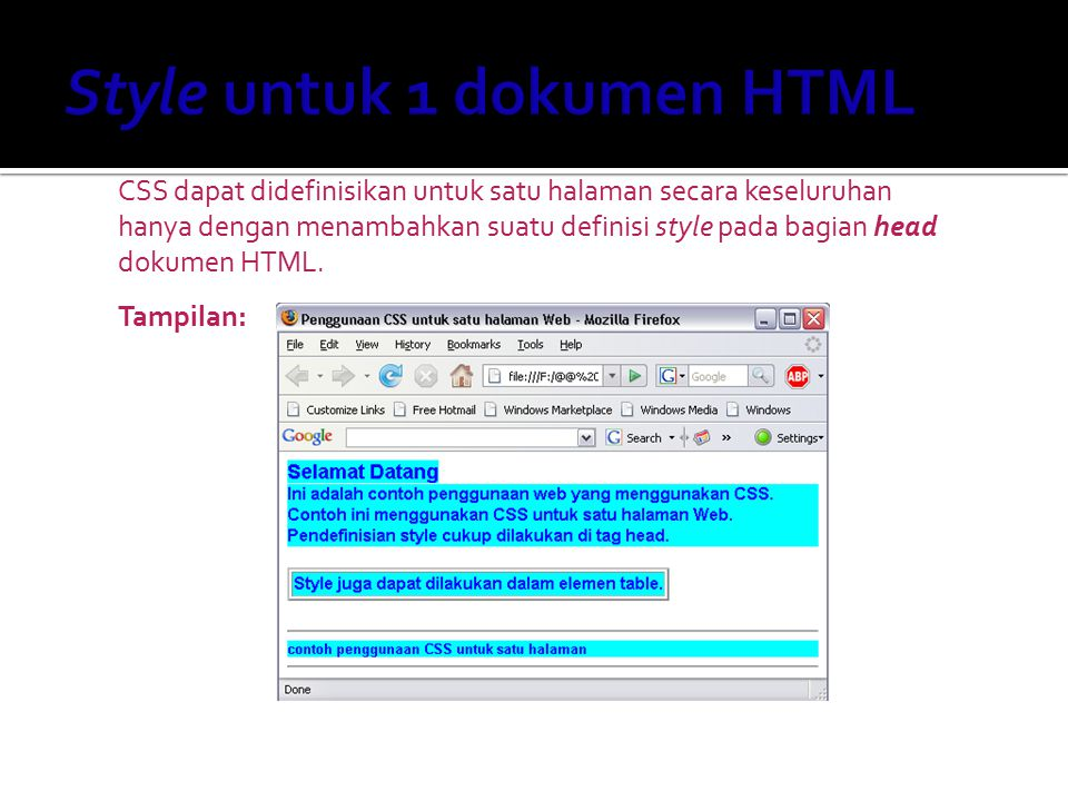 Style untuk 1 dokumen HTML