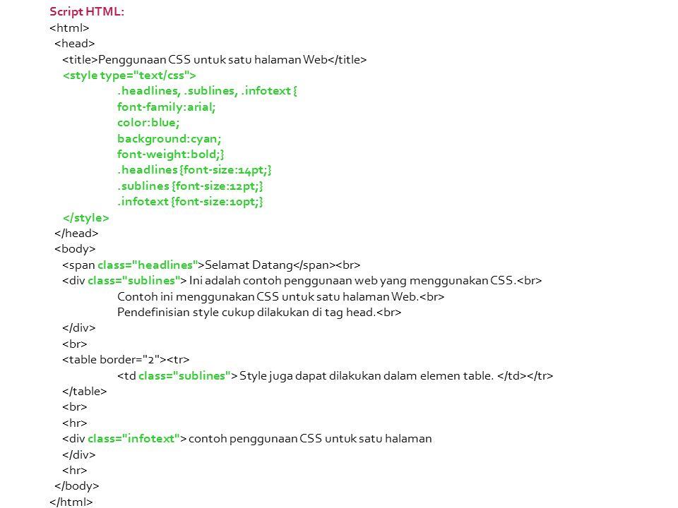 Script HTML: <html> <head> <title>Penggunaan CSS untuk satu halaman Web</title> <style type= text/css >