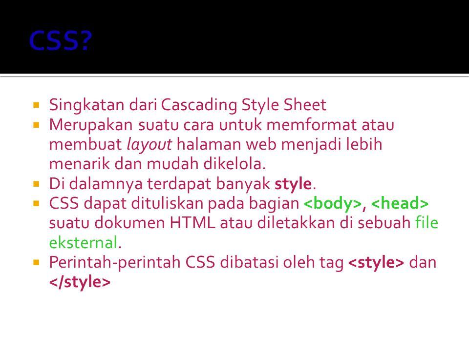 CSS Singkatan dari Cascading Style Sheet