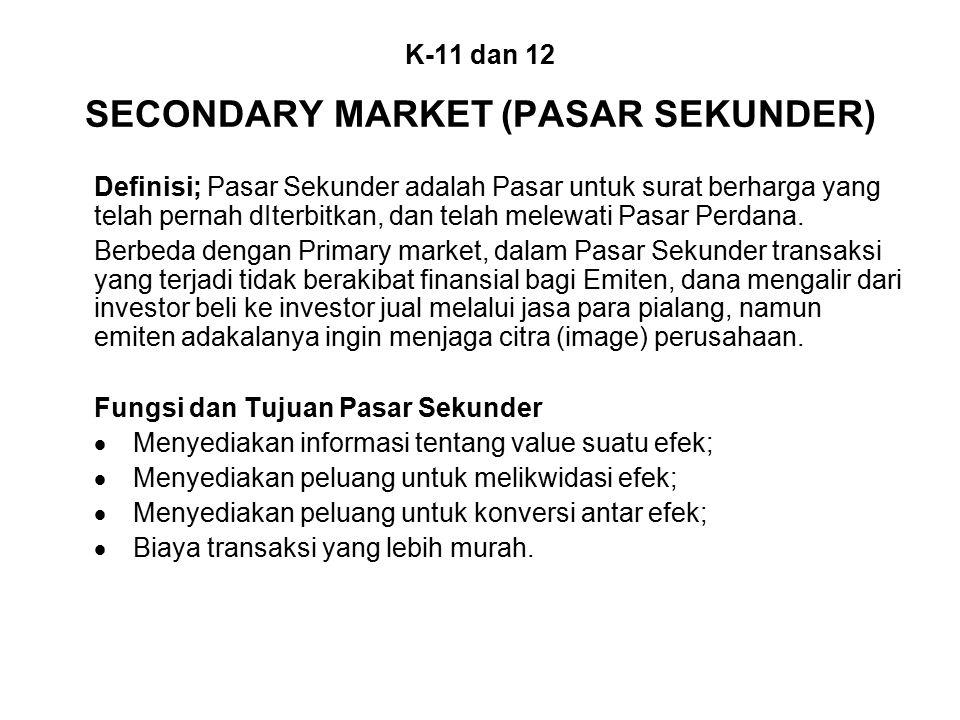 K-11 dan 12 SECONDARY MARKET (PASAR SEKUNDER)