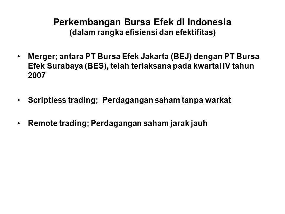 Perkembangan Bursa Efek di Indonesia (dalam rangka efisiensi dan efektifitas)