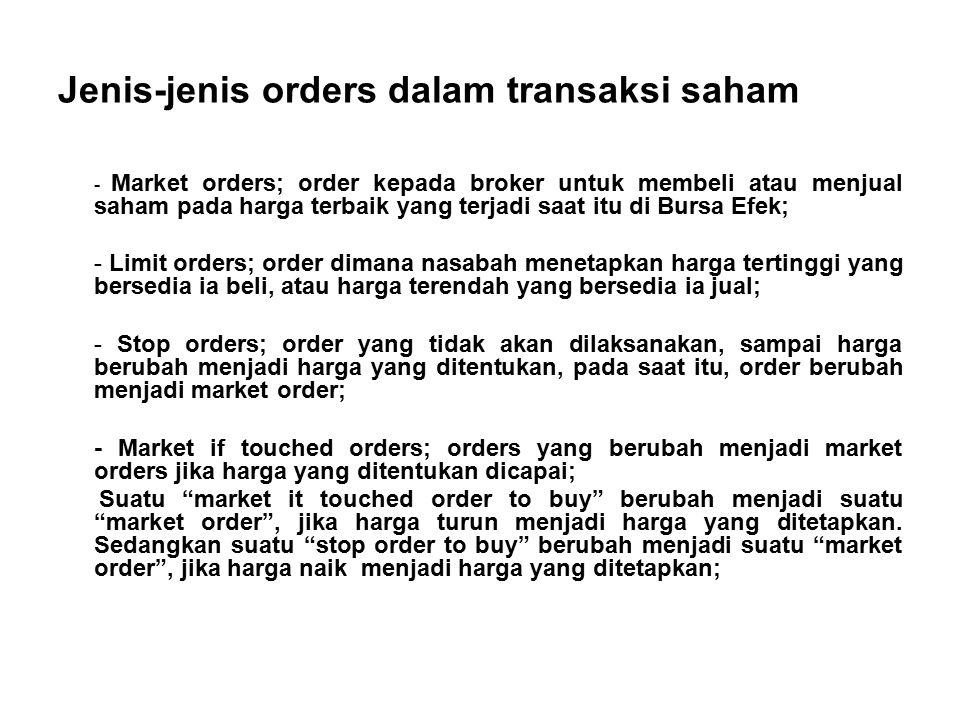 Jenis-jenis orders dalam transaksi saham