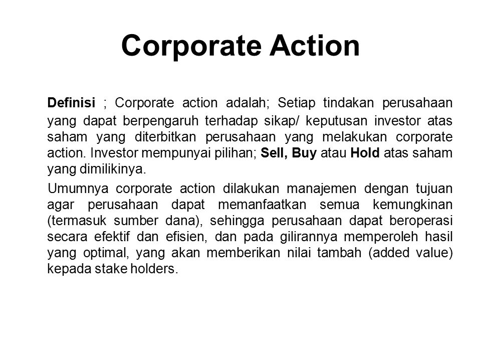 Corporate Action