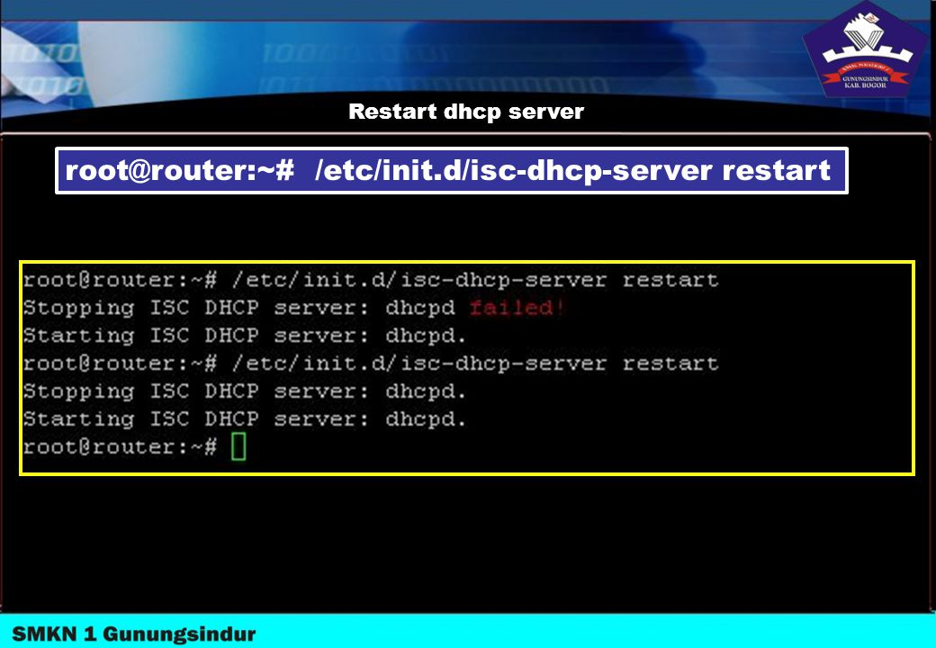 root@router:~# /etc/init.d/isc-dhcp-server restart