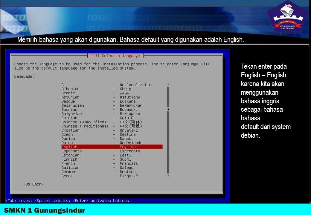Memilih bahasa yang akan digunakan