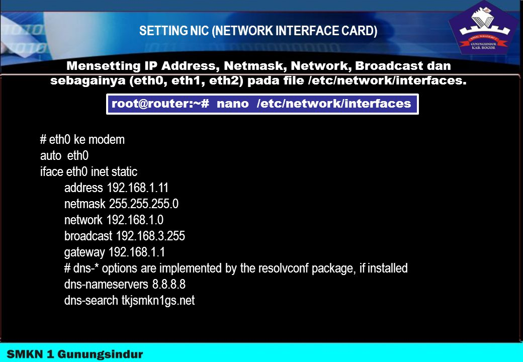 SETTING NIC (NETWORK INTERFACE CARD)