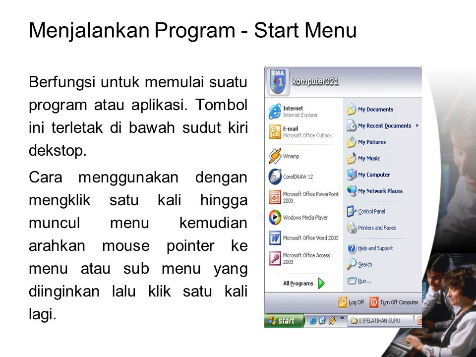 Menjalankan Program - Start Menu