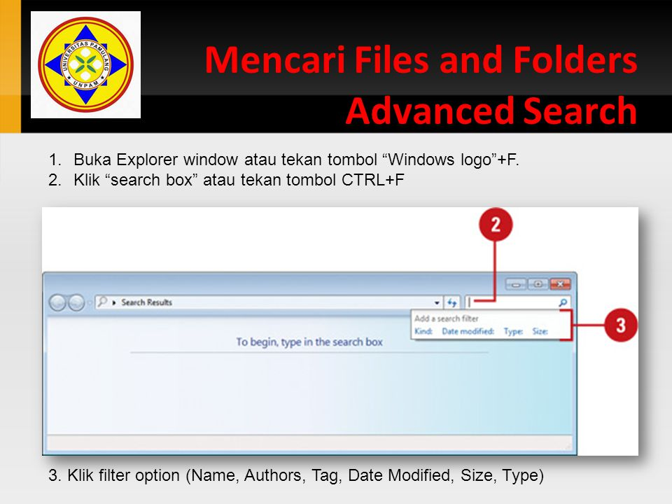 Mencari Files and Folders Advanced Search