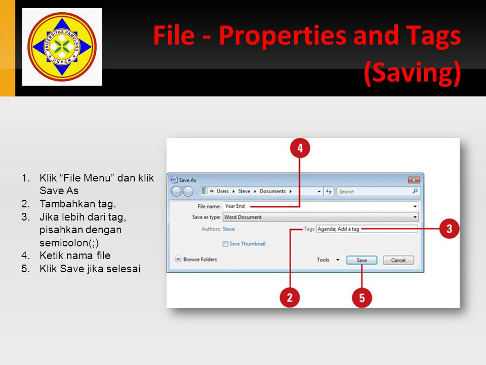 File - Properties and Tags (Saving)