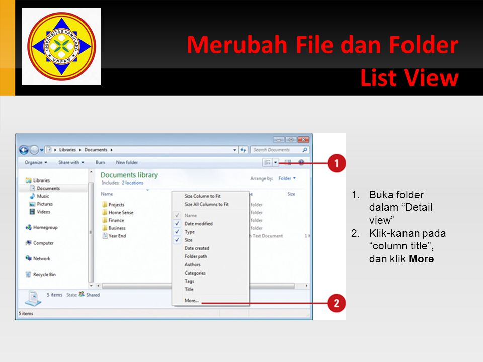 Merubah File dan Folder List View