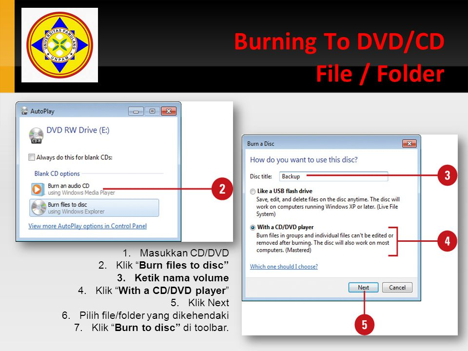 Burning To DVD/CD File / Folder