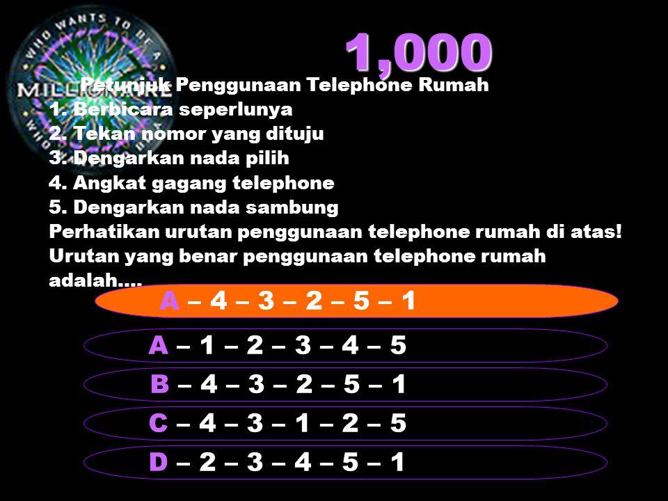 1,000 Petunjuk Penggunaan Telephone Rumah. 1. Berbicara seperlunya. 2. Tekan nomor yang dituju. 3. Dengarkan nada pilih.