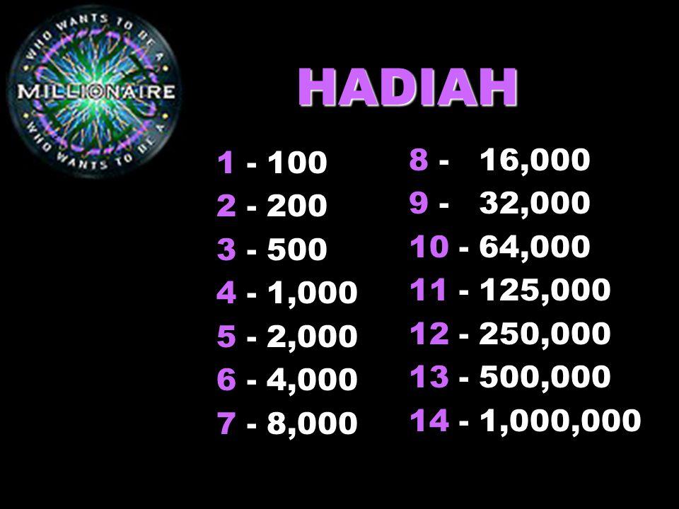 HADIAH 1 - 100. 2 - 200. 3 - 500. 4 - 1,000. 5 - 2,000. 6 - 4,000. 7 - 8,000. 8 - 16,000. 9 - 32,000.