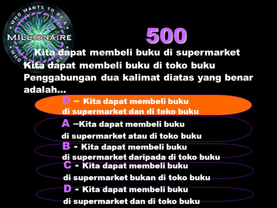 500 Kita dapat membeli buku di supermarket D – Kita dapat membeli buku