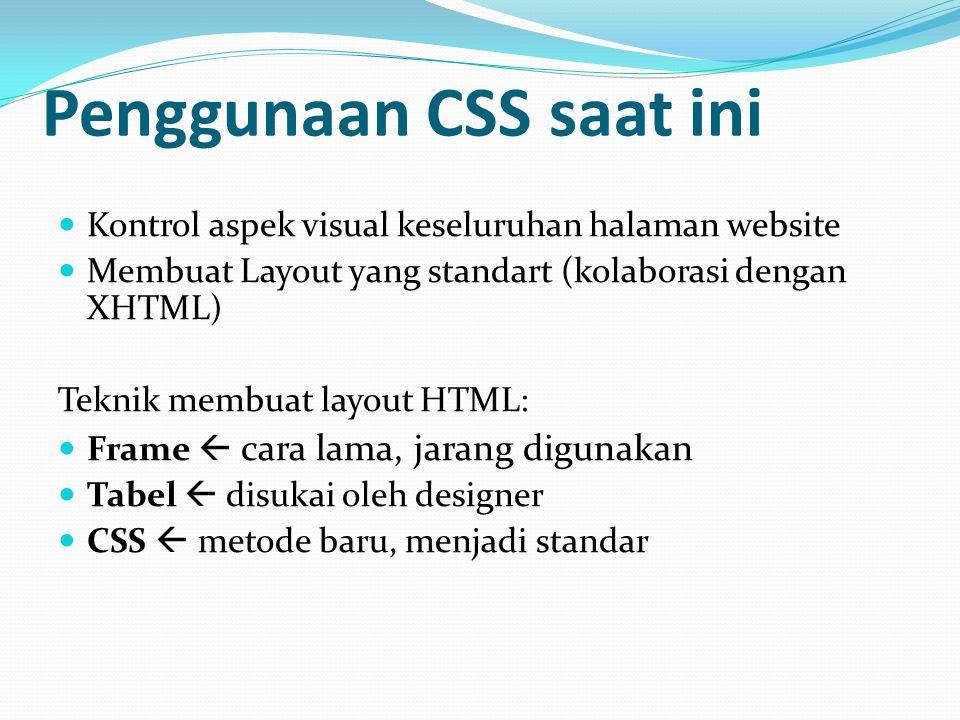 Penggunaan CSS saat ini