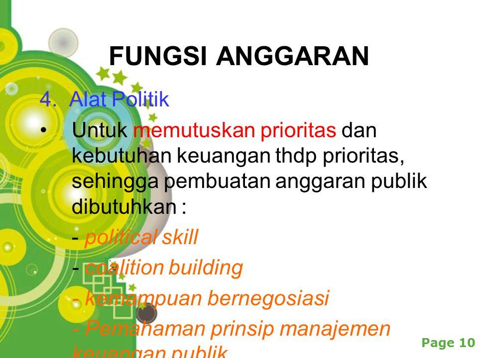 FUNGSI ANGGARAN 4. Alat Politik