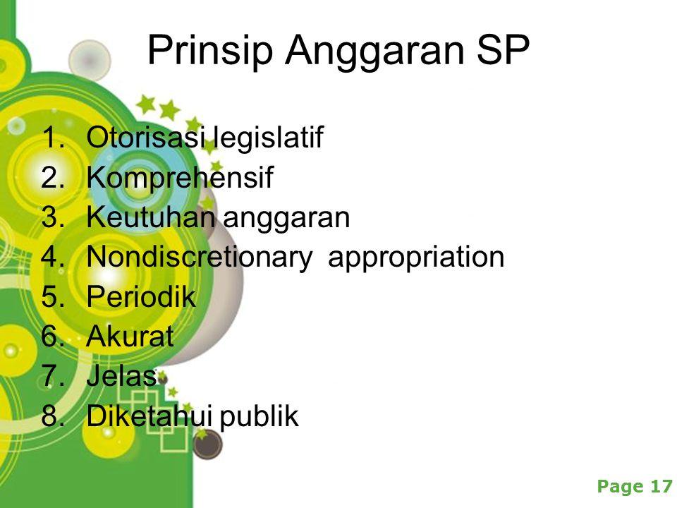 Prinsip Anggaran SP Otorisasi legislatif Komprehensif