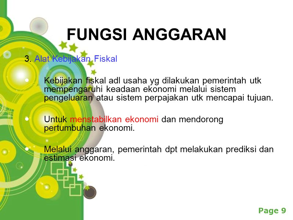 FUNGSI ANGGARAN 3. Alat Kebijakan Fiskal