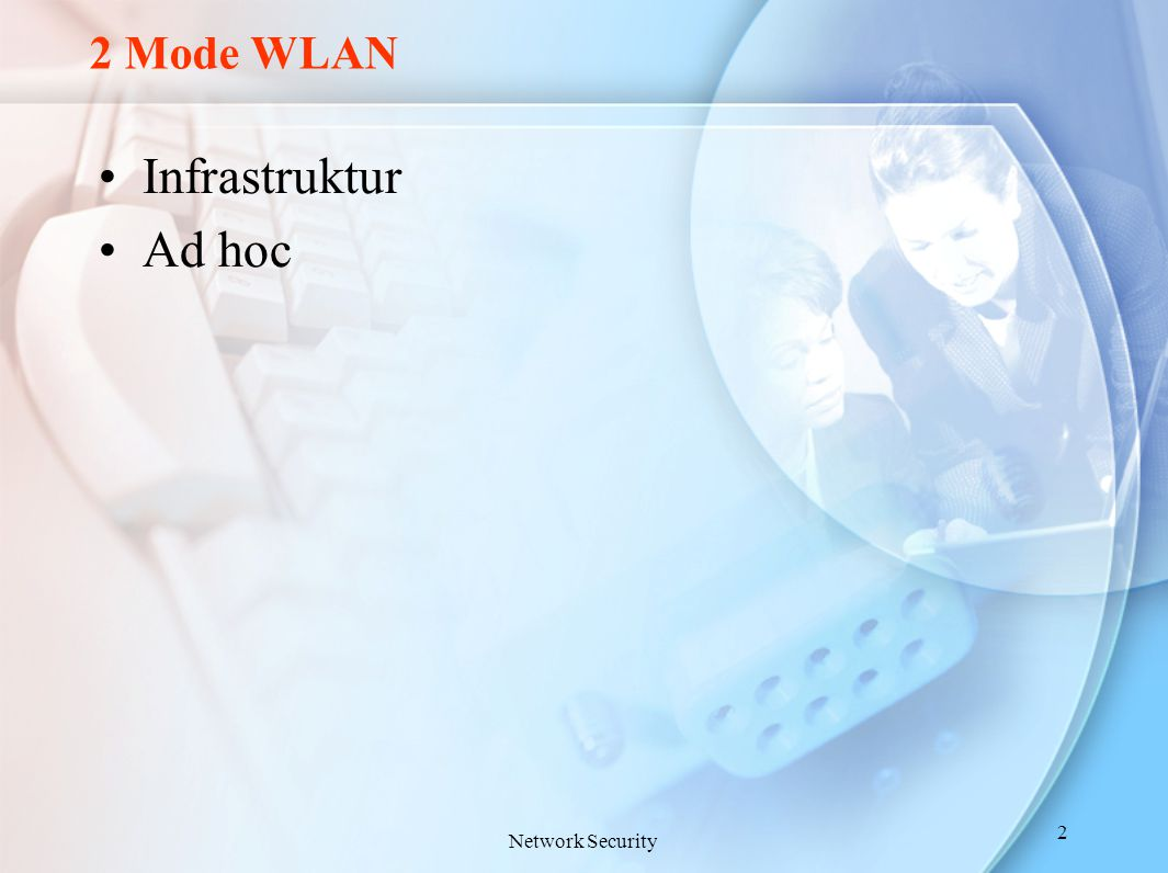 2 Mode WLAN Infrastruktur Ad hoc Network Security