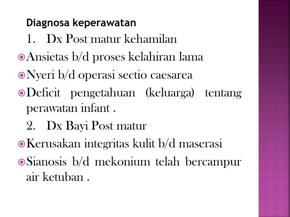 Ansietas b/d proses kelahiran lama Nyeri b/d operasi sectio caesarea