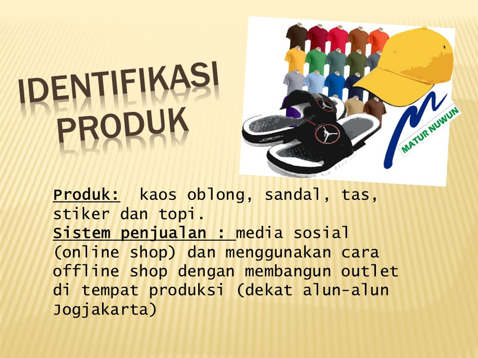 IDENTIFIKASI PRODUK Produk: kaos oblong, sandal, tas, stiker dan topi.