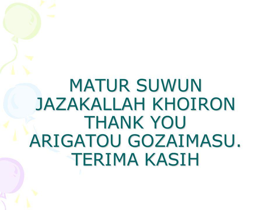 MATUR SUWUN JAZAKALLAH KHOIRON THANK YOU ARIGATOU GOZAIMASU