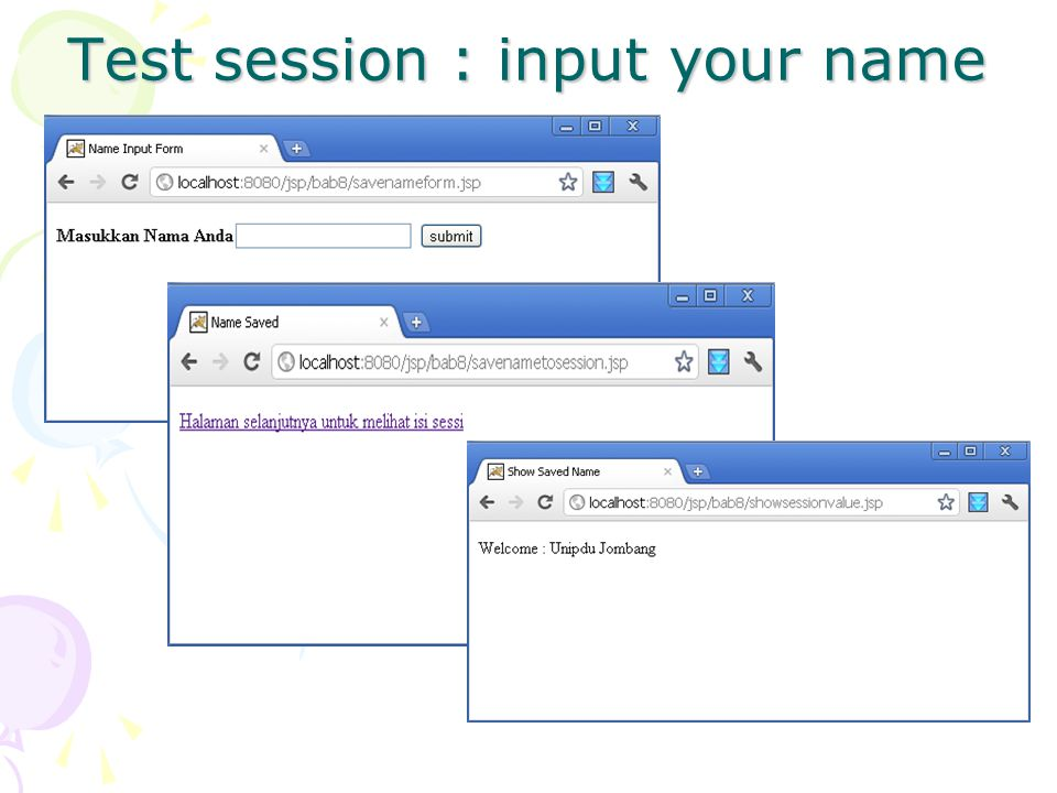 Test session : input your name