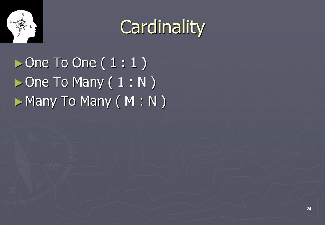 Cardinality One To One ( 1 : 1 ) One To Many ( 1 : N )