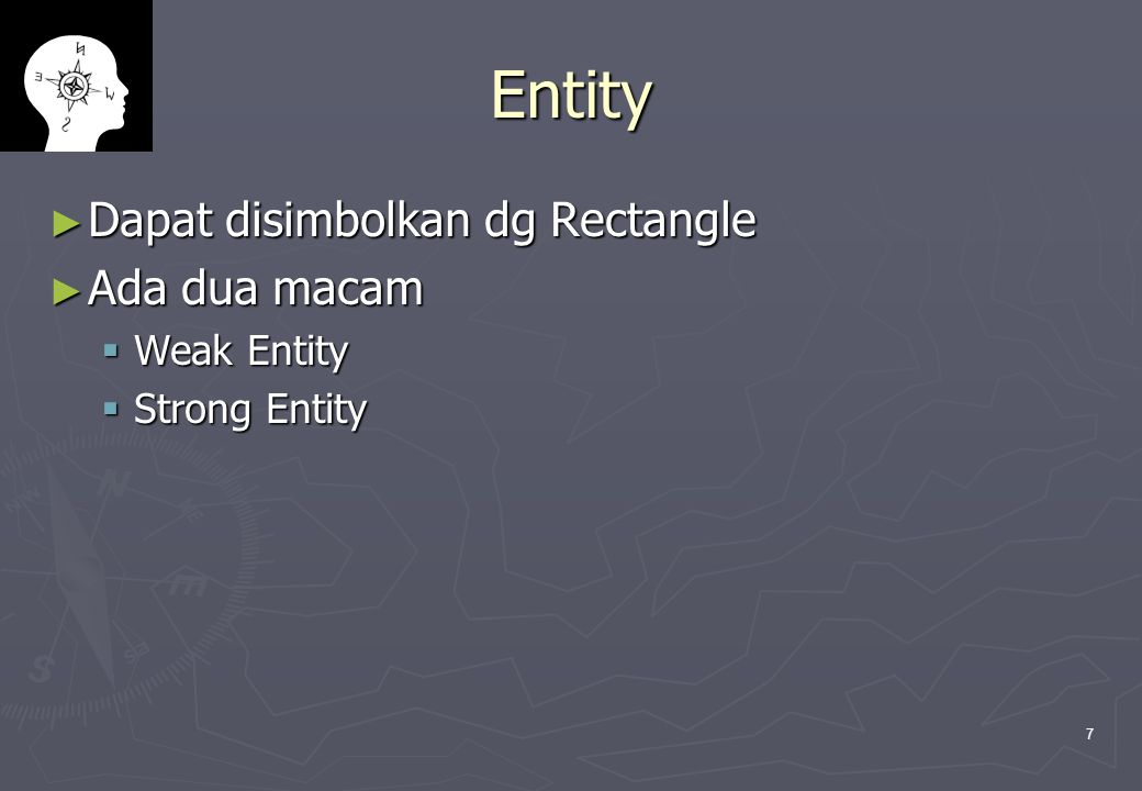 Entity Dapat disimbolkan dg Rectangle Ada dua macam Weak Entity