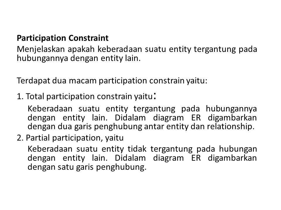 Participation Constraint Menjelaskan apakah keberadaan suatu entity tergantung pada hubungannya dengan entity lain.