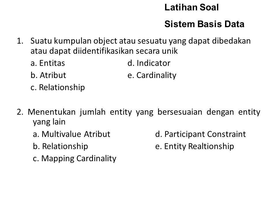 Latihan Soal Sistem Basis Data. Suatu kumpulan object atau sesuatu yang dapat dibedakan atau dapat diidentifikasikan secara unik.