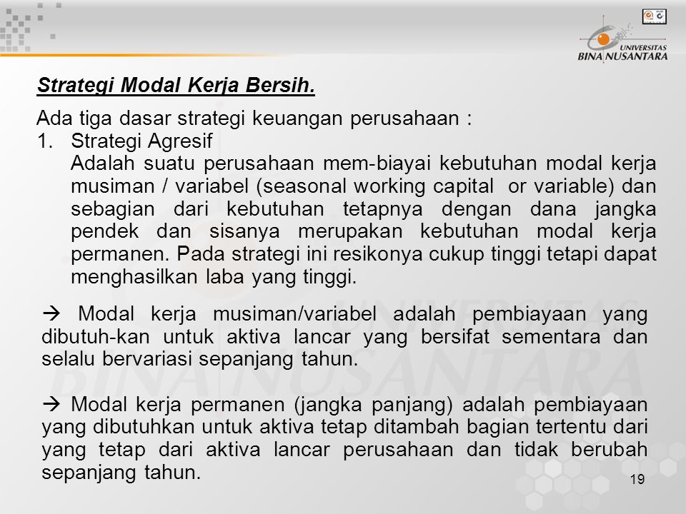 Strategi Modal Kerja Bersih.