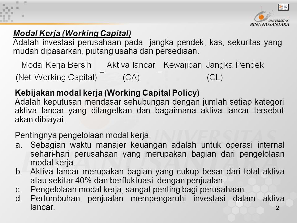 Modal Kerja (Working Capital)