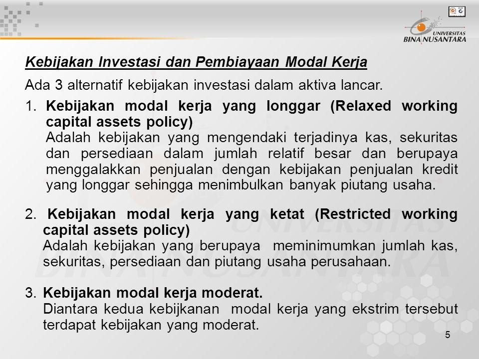 Kebijakan Investasi dan Pembiayaan Modal Kerja