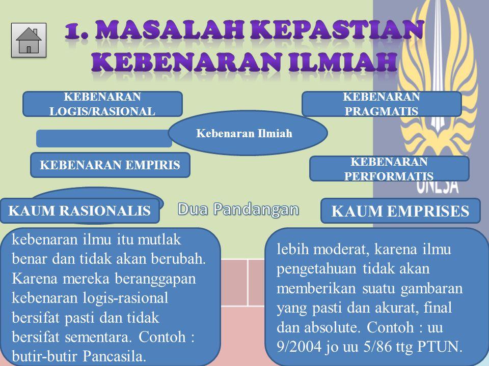 1. MASALAH KEPASTIAN KEBENARAN ILMIAH