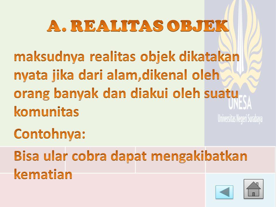 A. REALITAS OBJEK maksudnya realitas objek dikatakan nyata jika dari alam,dikenal oleh orang banyak dan diakui oleh suatu komunitas.