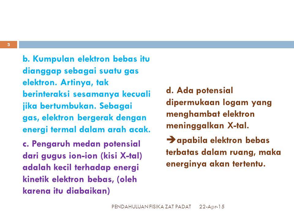 b. Kumpulan elektron bebas itu dianggap sebagai suatu gas elektron