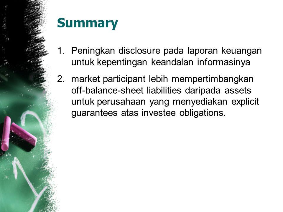 Summary Peningkan disclosure pada laporan keuangan untuk kepentingan keandalan informasinya.