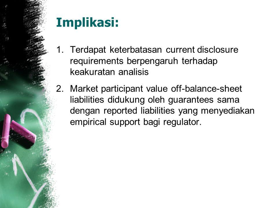 Implikasi: Terdapat keterbatasan current disclosure requirements berpengaruh terhadap keakuratan analisis.